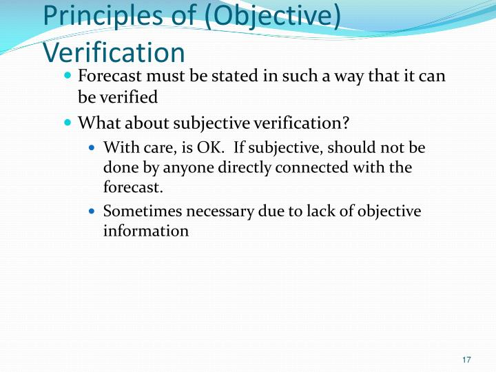 Principles of (Objective) Verification