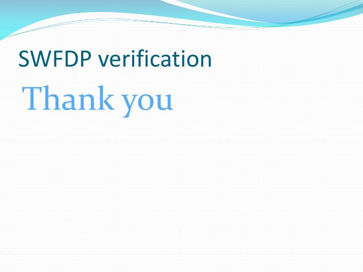 SWFDP verification