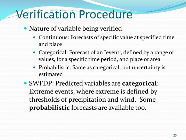 Verification Procedure