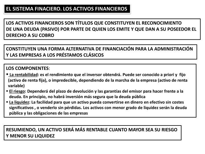 EL SISTEMA FINACIERO. LOS ACTIVOS FINANCIEROS