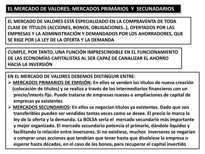 EL MERCADO DE VALORES: MERCADOS PRIMARIOS  Y  SECUNADARIOS