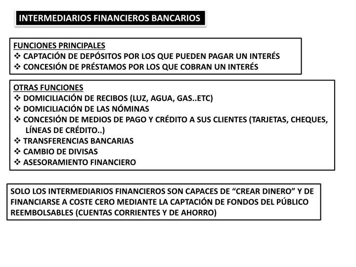 INTERMEDIARIOS FINANCIEROS BANCARIOS
