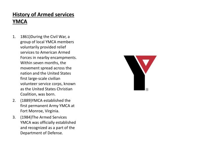 History of Armed services YMCA