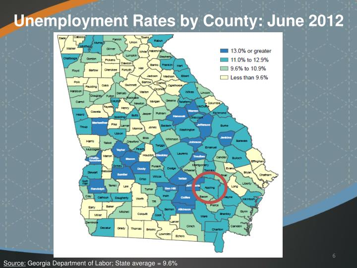 Unemployment Rates by County: June 2012
