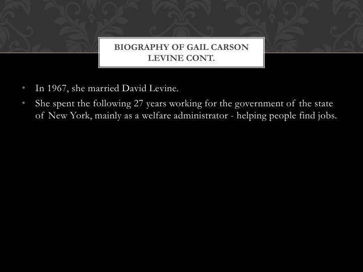 Biography of gail carson levine cont