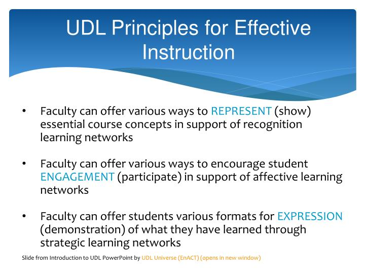 UDL Principles for Effective