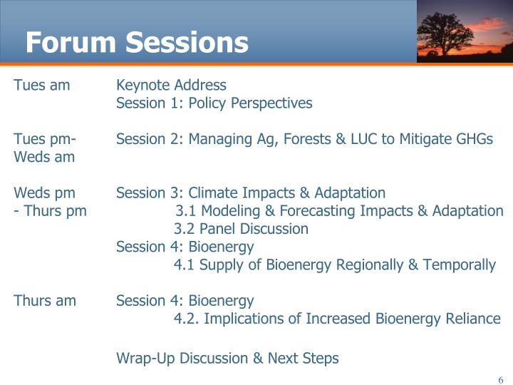 Forum Sessions