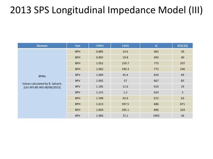 2013 SPS Longitudinal Impedance Model (III)