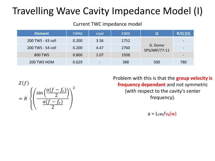 Travelling Wave Cavity Impedance Model (I)
