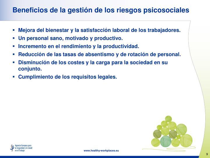 Beneficios de la gestión de los riesgos psicosociales