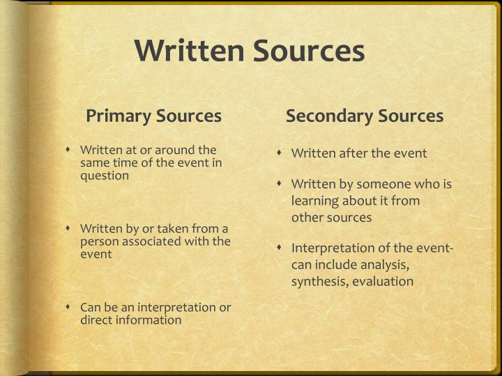 Written sources