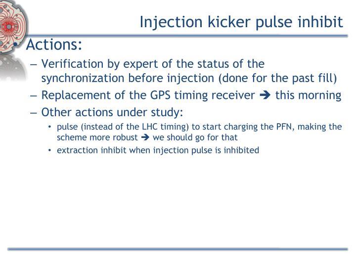 Injection kicker pulse inhibit