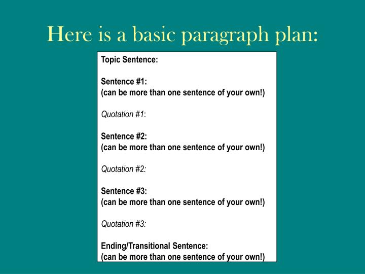 Here is a basic paragraph plan: