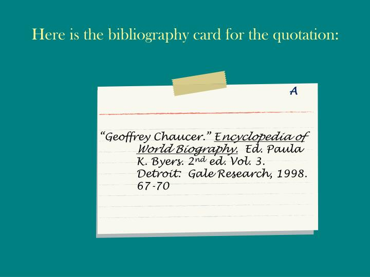 Here is the bibliography card for the quotation: