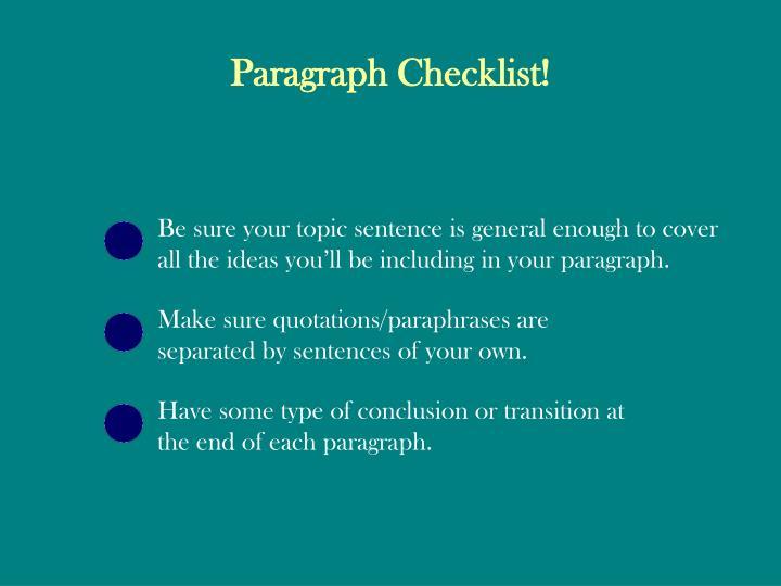 Paragraph Checklist!