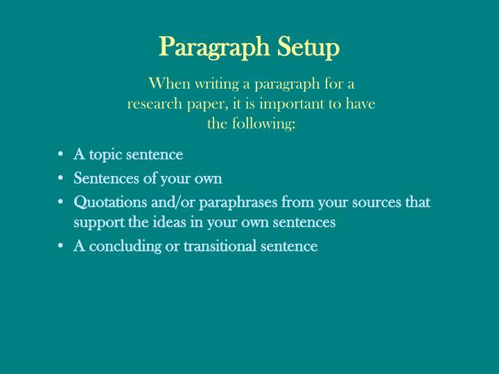 Paragraph Setup