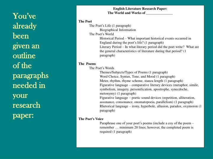 English Literature Research Paper: