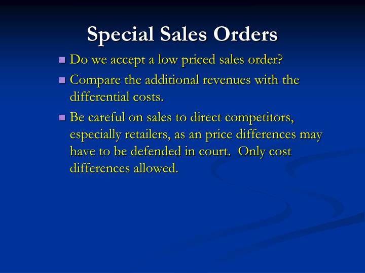 Special Sales Orders