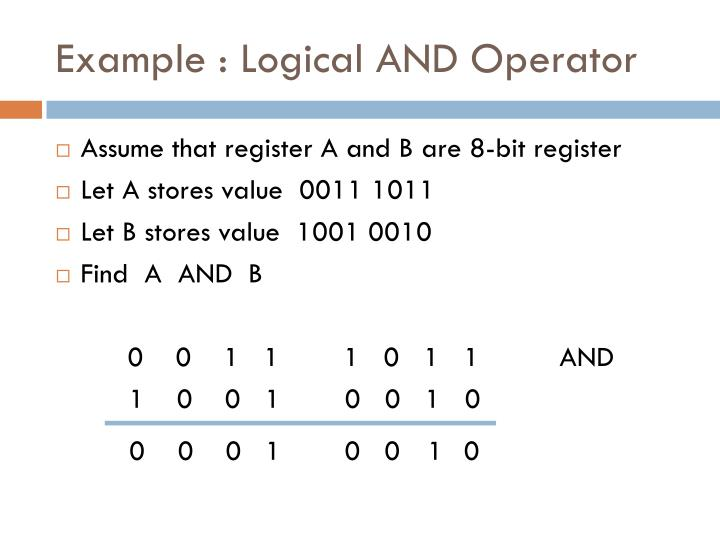 Example : Logical AND Operator
