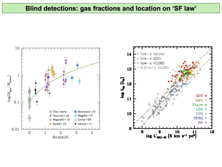 Blind detections: gas fractions and location on 'SF law'