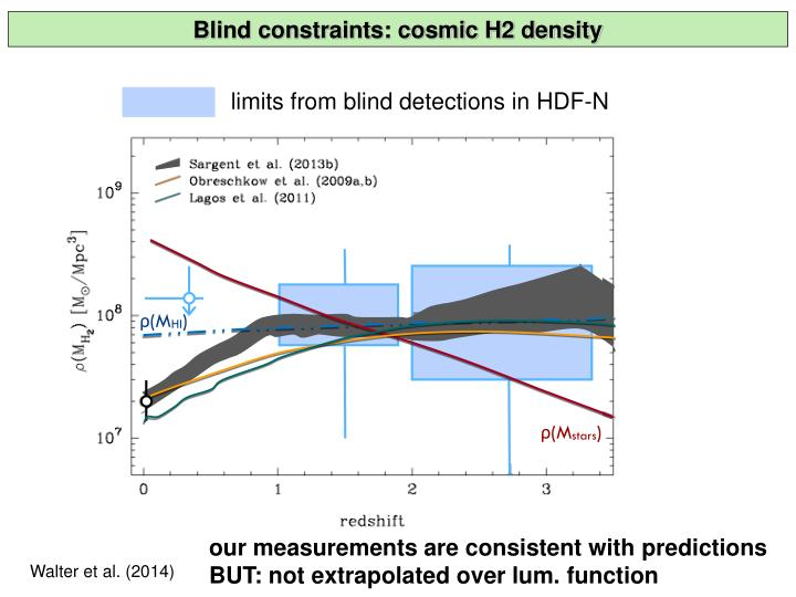 Blind constraints: cosmic H2 density