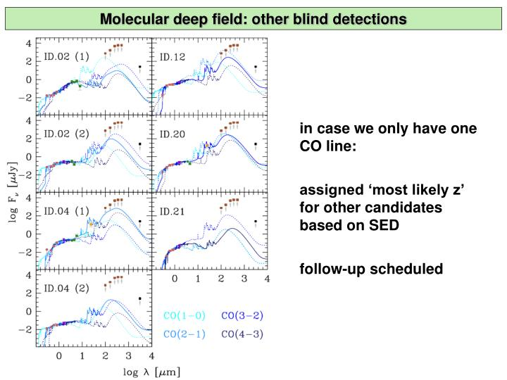 Molecular deep field: other blind detections
