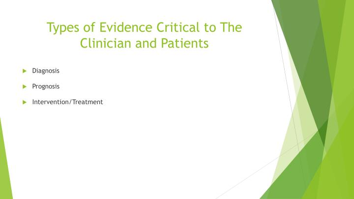 Types of Evidence Critical to The Clinician and Patients