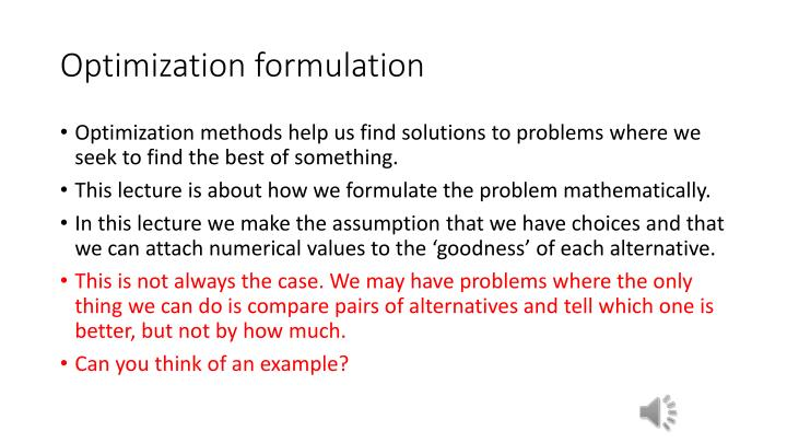Optimization formulation