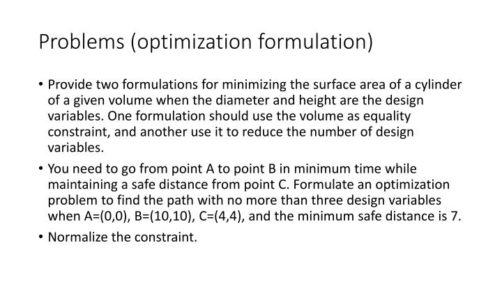 Problems optimization formulation