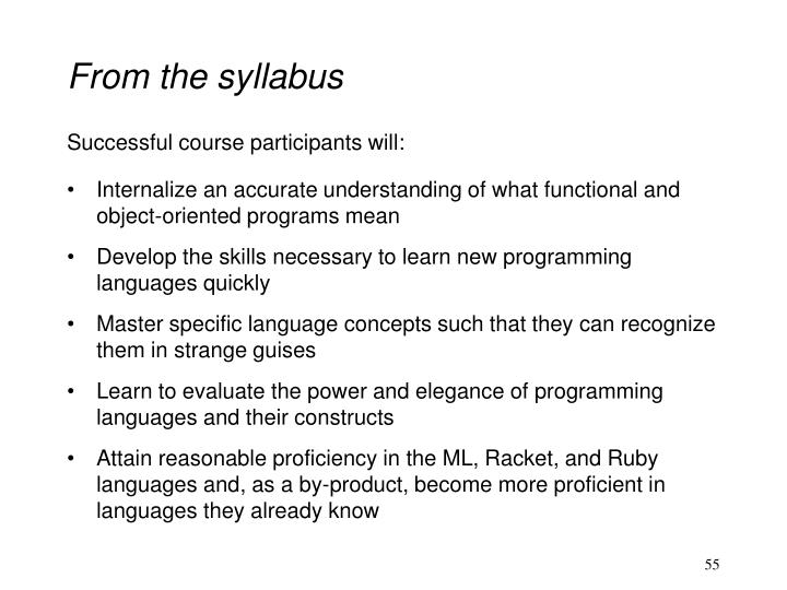From the syllabus