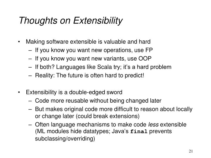 Thoughts on Extensibility