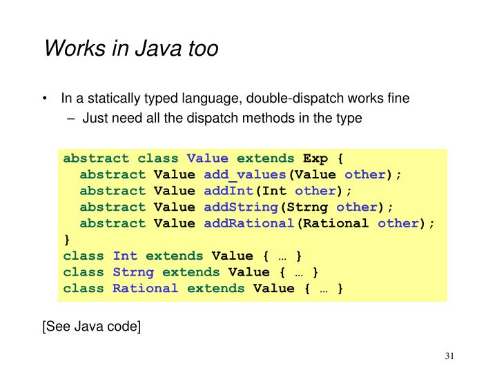 Works in Java too