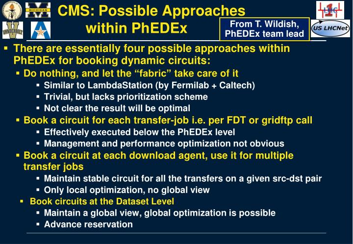 CMS: Possible Approaches