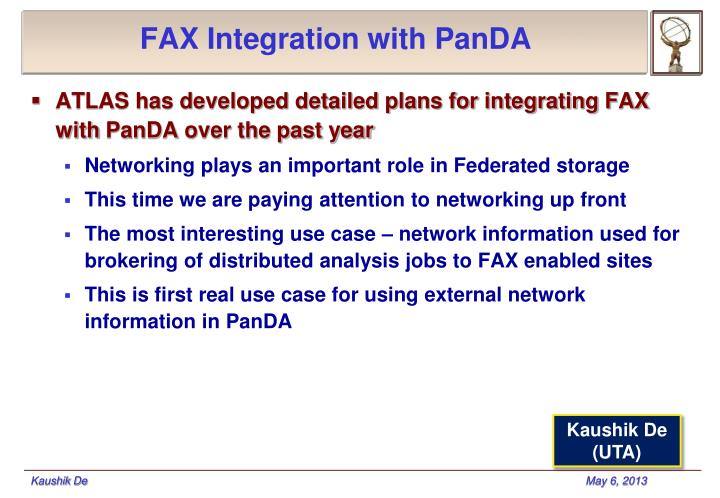 FAX Integration with PanDA