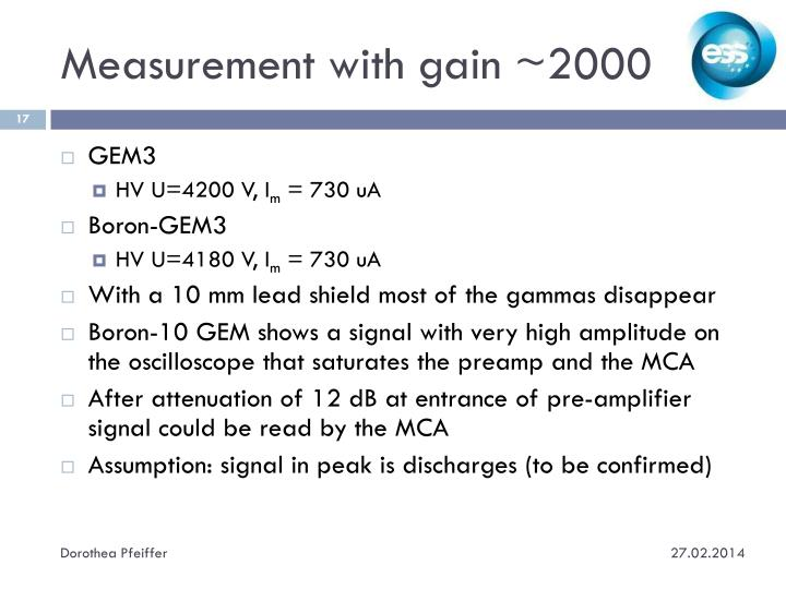 Measurement with gain ~2000