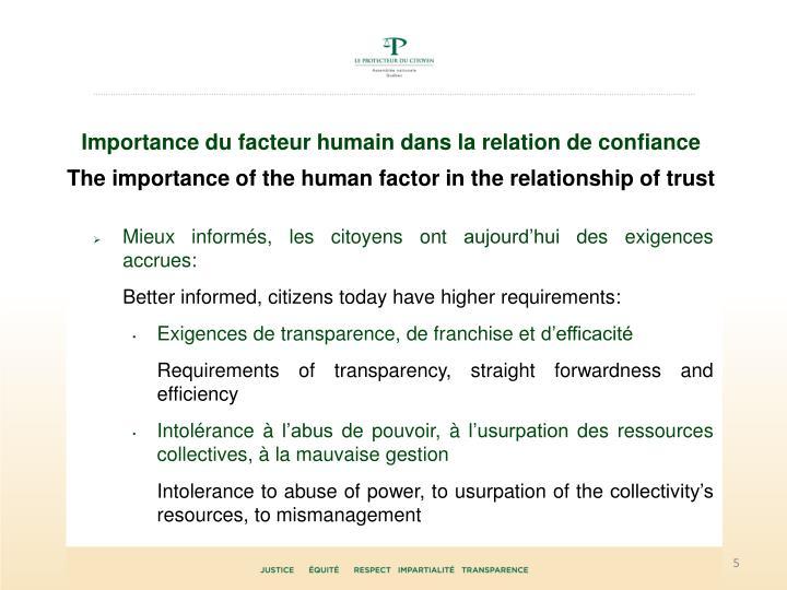 Importance du facteur humain dans la relation de confiance