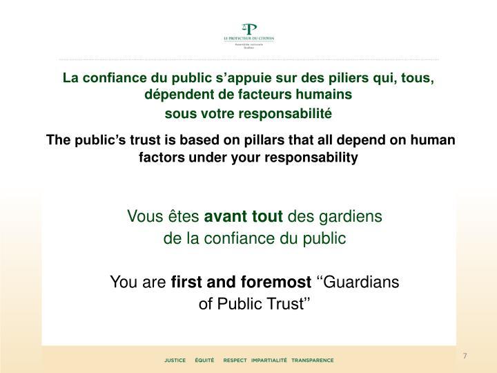 La confiance du public s'appuie sur des piliers qui, tous, dépendent de facteurs humains