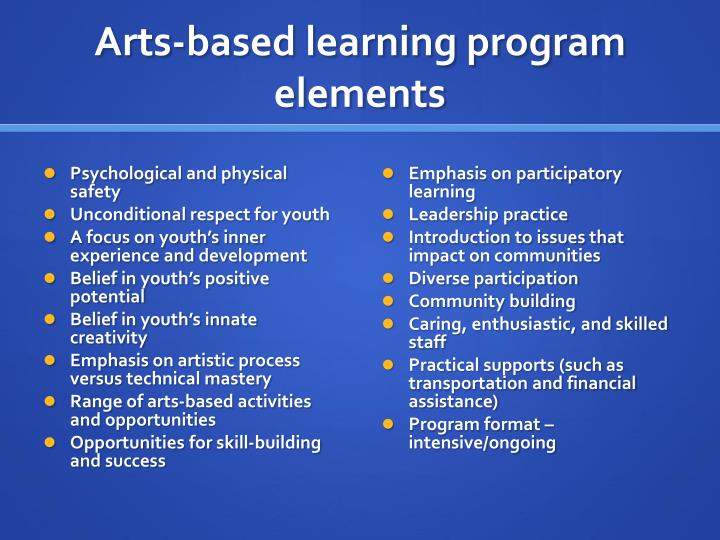 Arts-based learning program elements