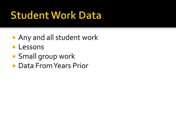 Student Work Data