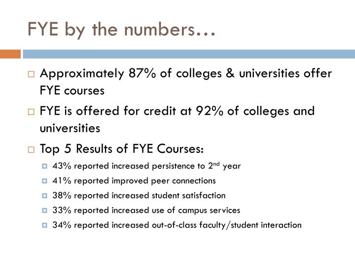 FYE by the numbers…