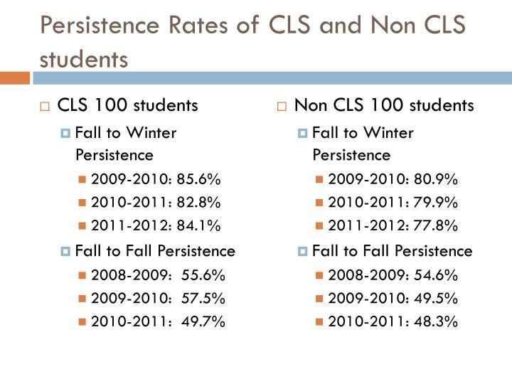 Persistence Rates of CLS and Non CLS students