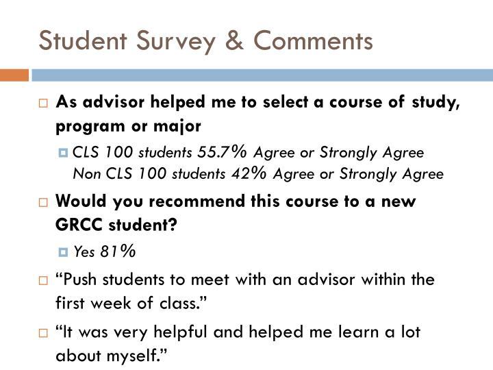 Student Survey & Comments
