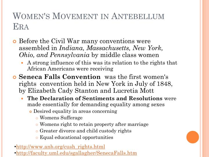Women's Movement in Antebellum Era