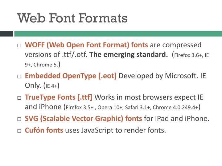 Web Font Formats