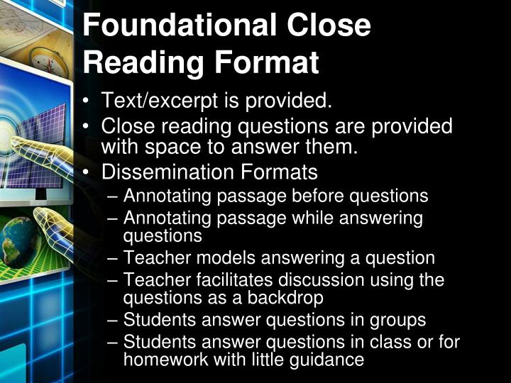 Foundational Close Reading Format