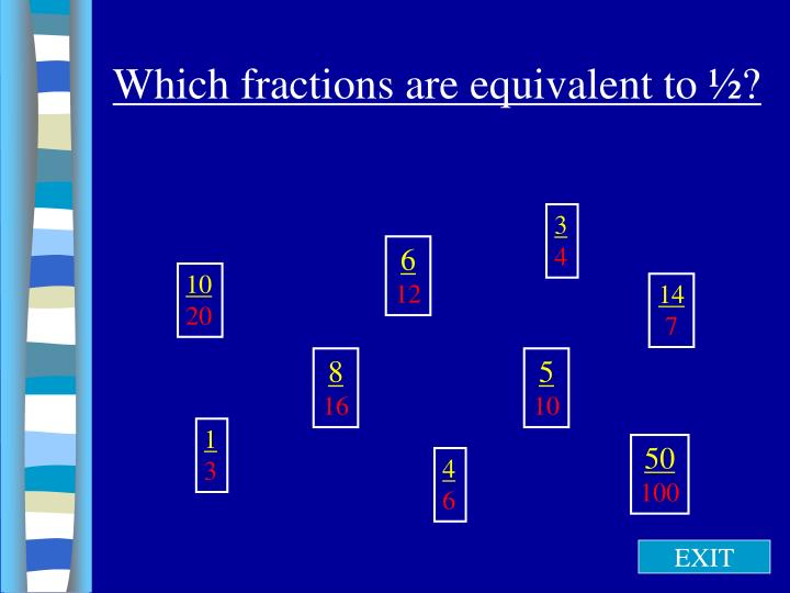 Which fractions are equivalent to ½?