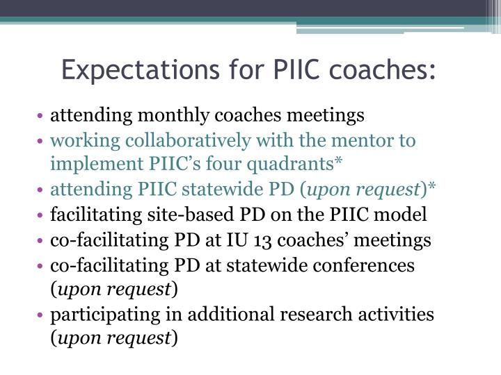 Expectations for PIIC coaches:
