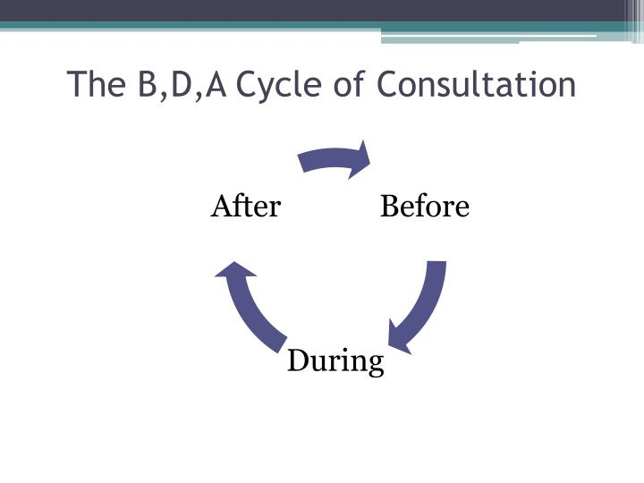The B,D,A Cycle of Consultation