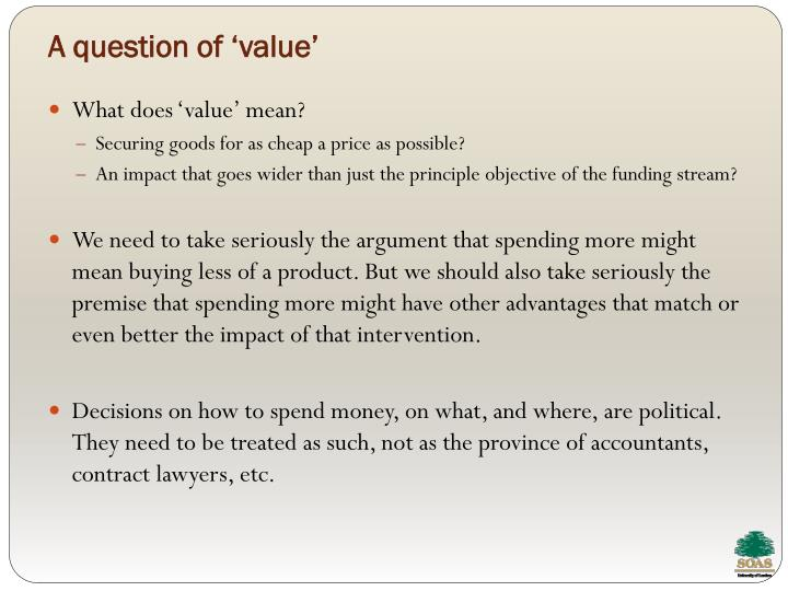 A question of 'value'