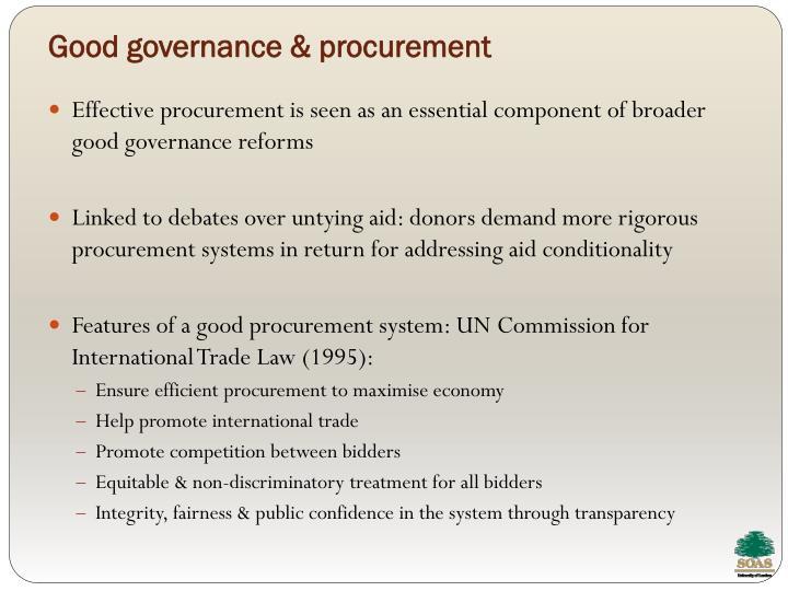 Good governance & procurement